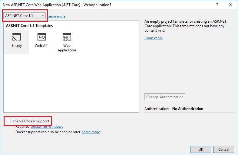 ASP.NET Core - New Project dialog
