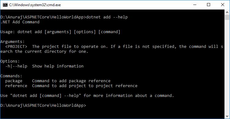 dotnet add command Help