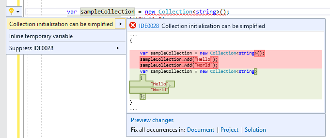 Use collection initializer