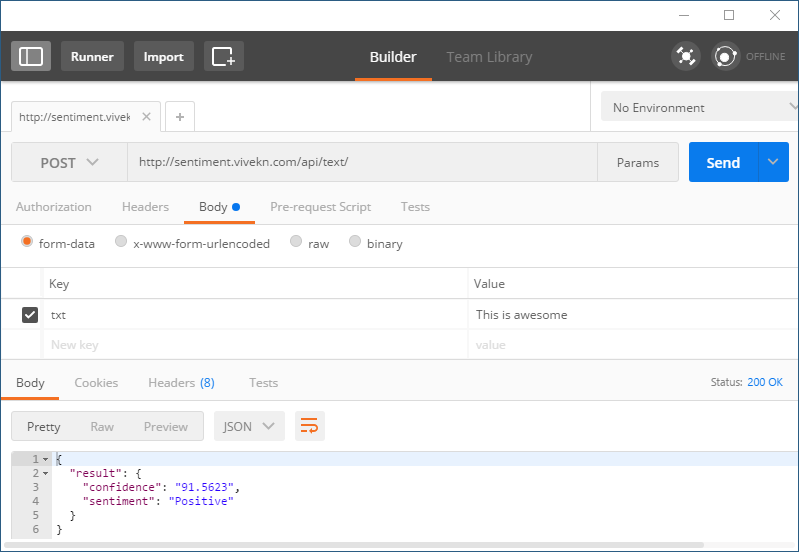 Create Request using Postman