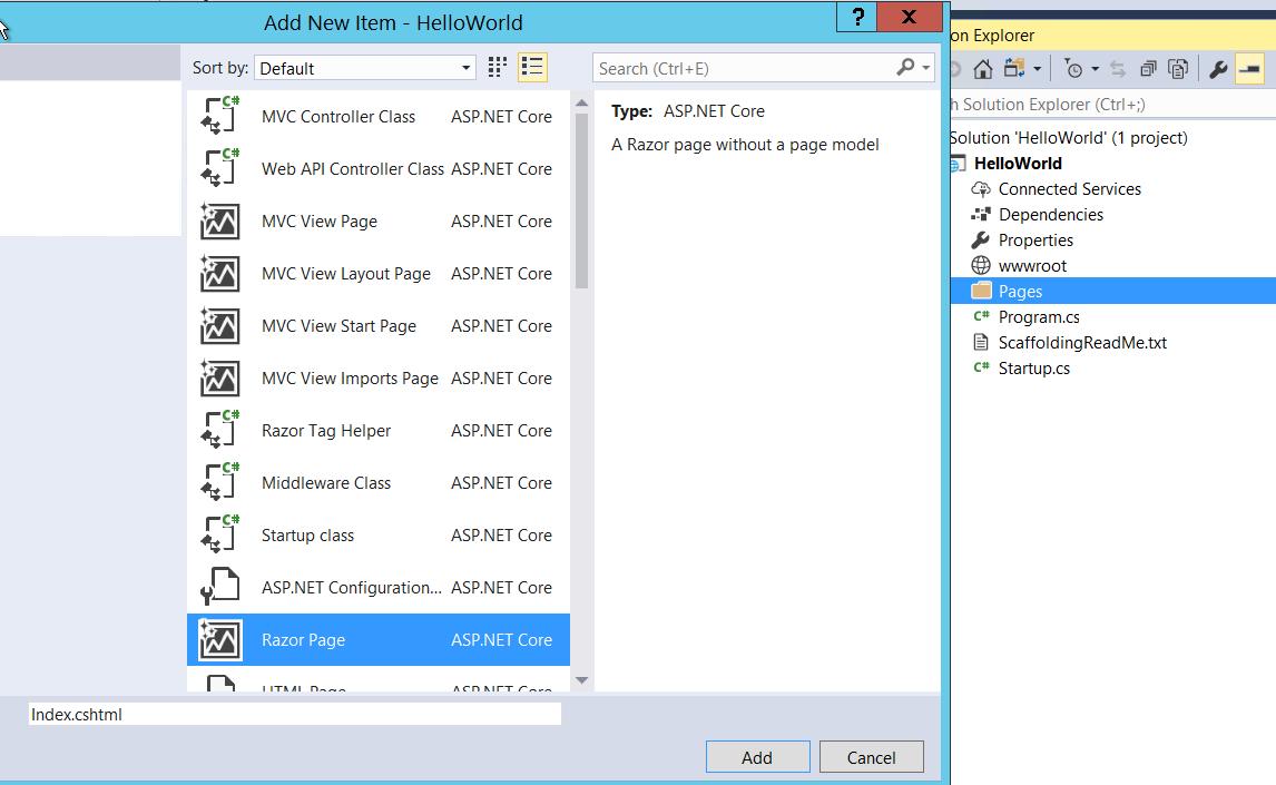 ASP.NET Core 2.0 Preview - Add new Razor Page