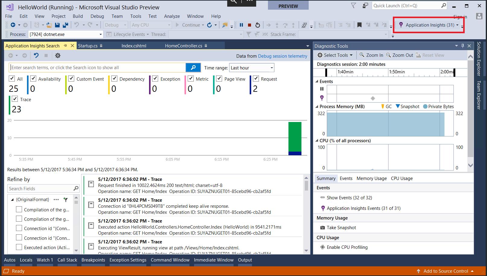 ASP.NET Core 2.0 - Integrated Azure Application Insights and diagnostics