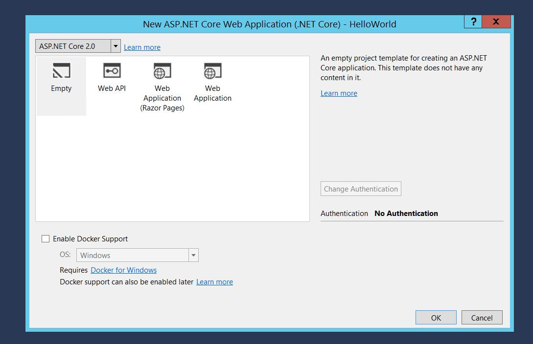 ASP.NET Core 2.0 New Project