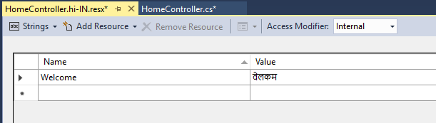 Hindi Resource file