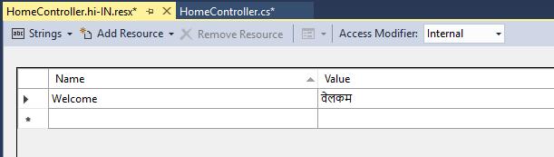 Hindi Resource file