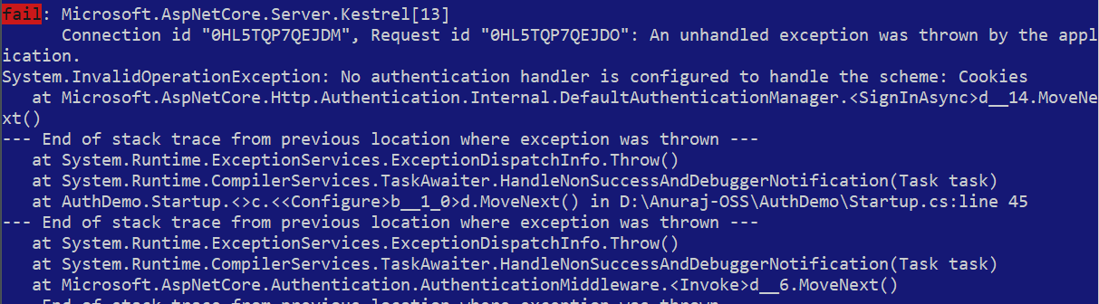 No authentication handler is configured to handle the scheme Cookies