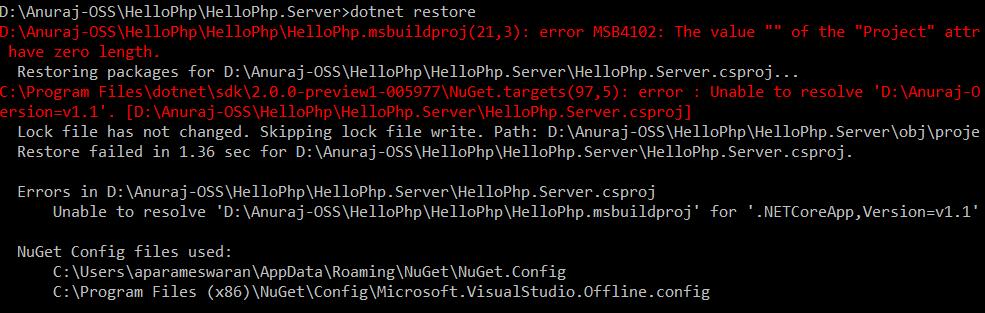 dotnet restore error