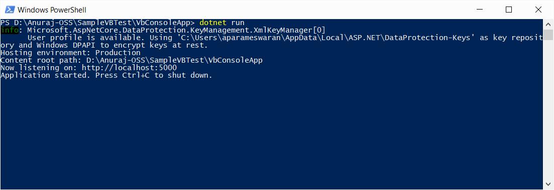 VB.NET ASP.NET Core Web App running.