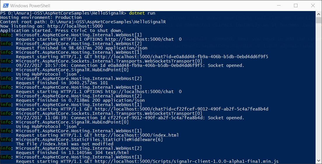 ASP.NET Core SignalR Running.