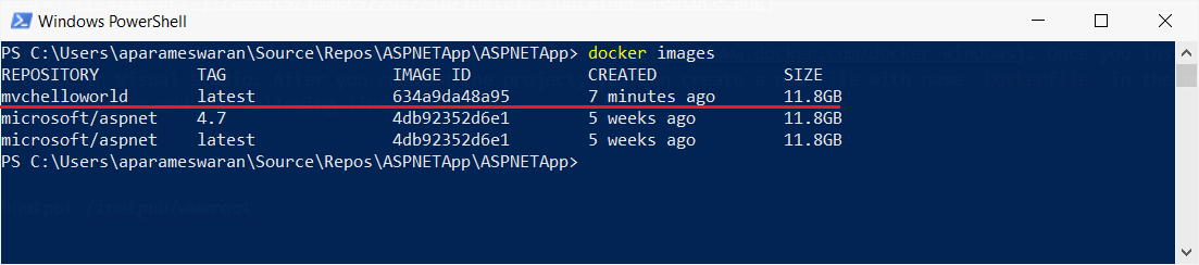 Docker Images command