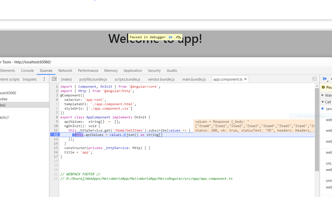 Debugging Web app