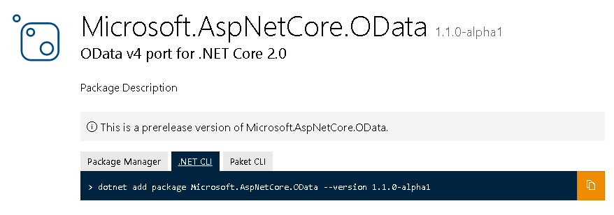 Getting started with OData in ASP NET Core