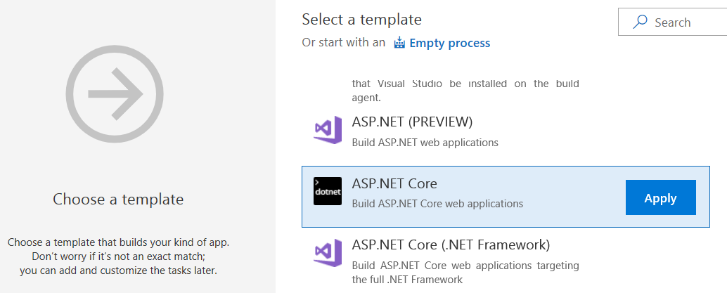 Choose Template - VSTS
