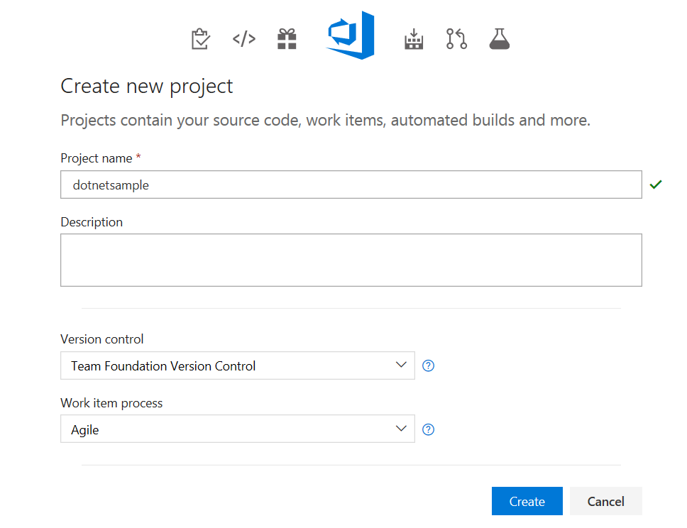 Create new project VSTS