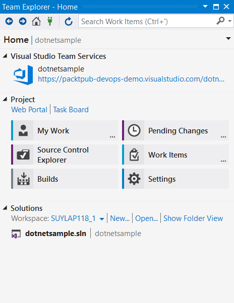 Add the project to VSTS