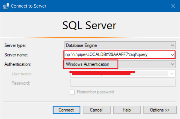 Local DB - Connect to Server Dialog