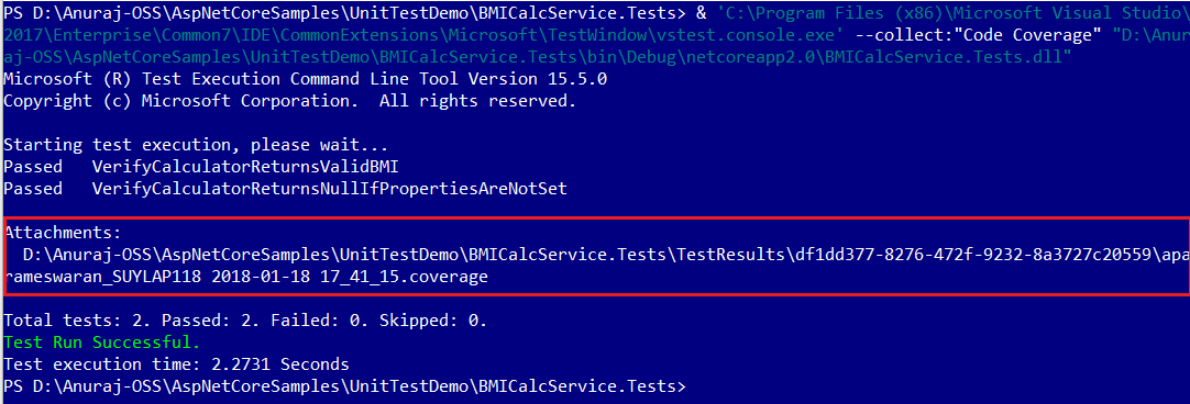 Code Coverage with vstest.console.exe
