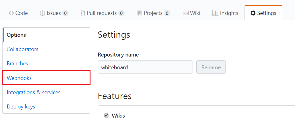 Settings page of your repository