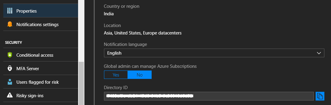 Azure Active Directory - Tenant Id