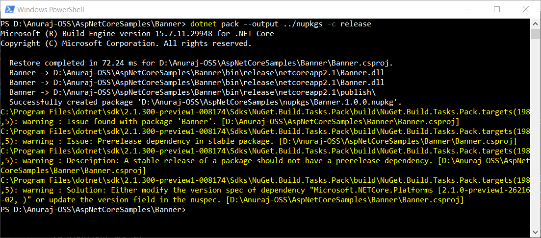 dotnet pack command