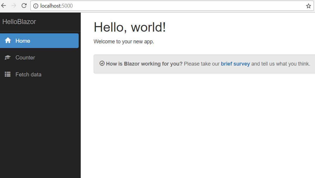 Blazor app running on localhost