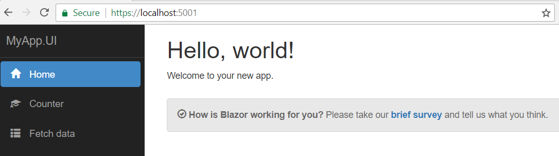 Blazor app running on localhost 5001