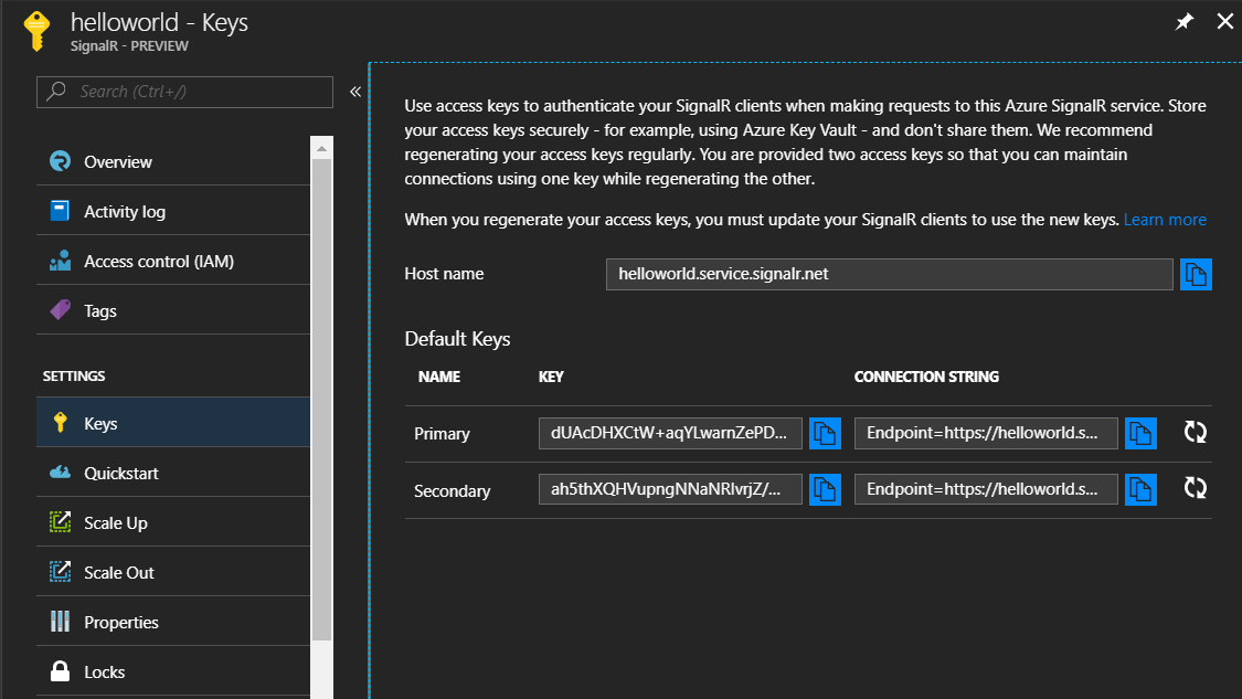 Getting started with SignalR service in Azure