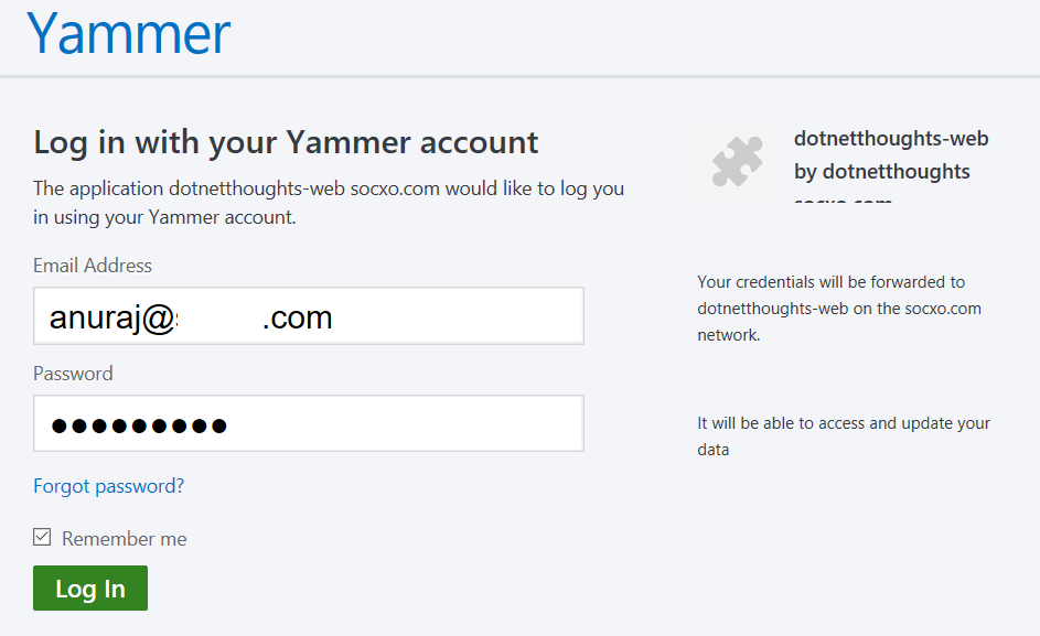 Yammer authentication dialog