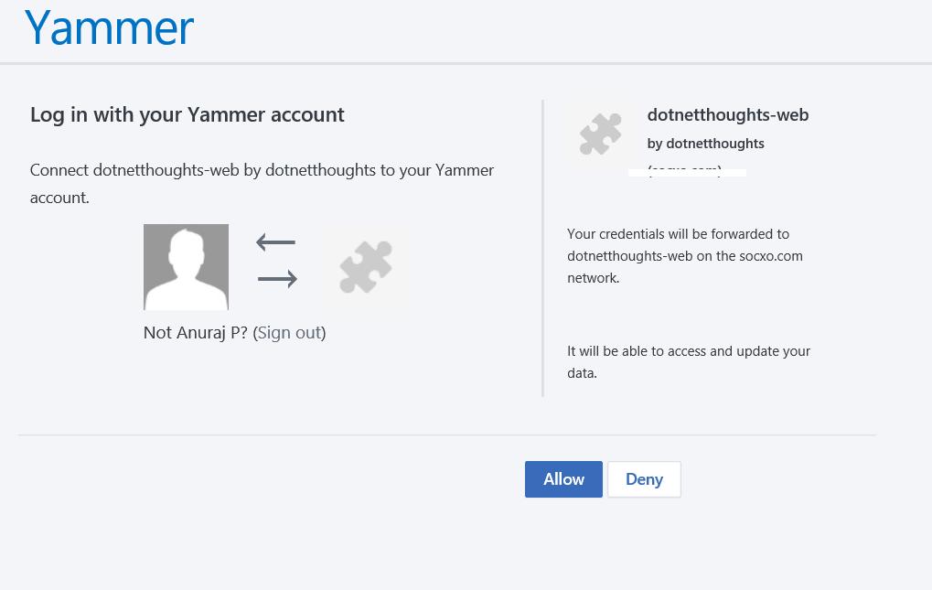 Yammer authorization dialog