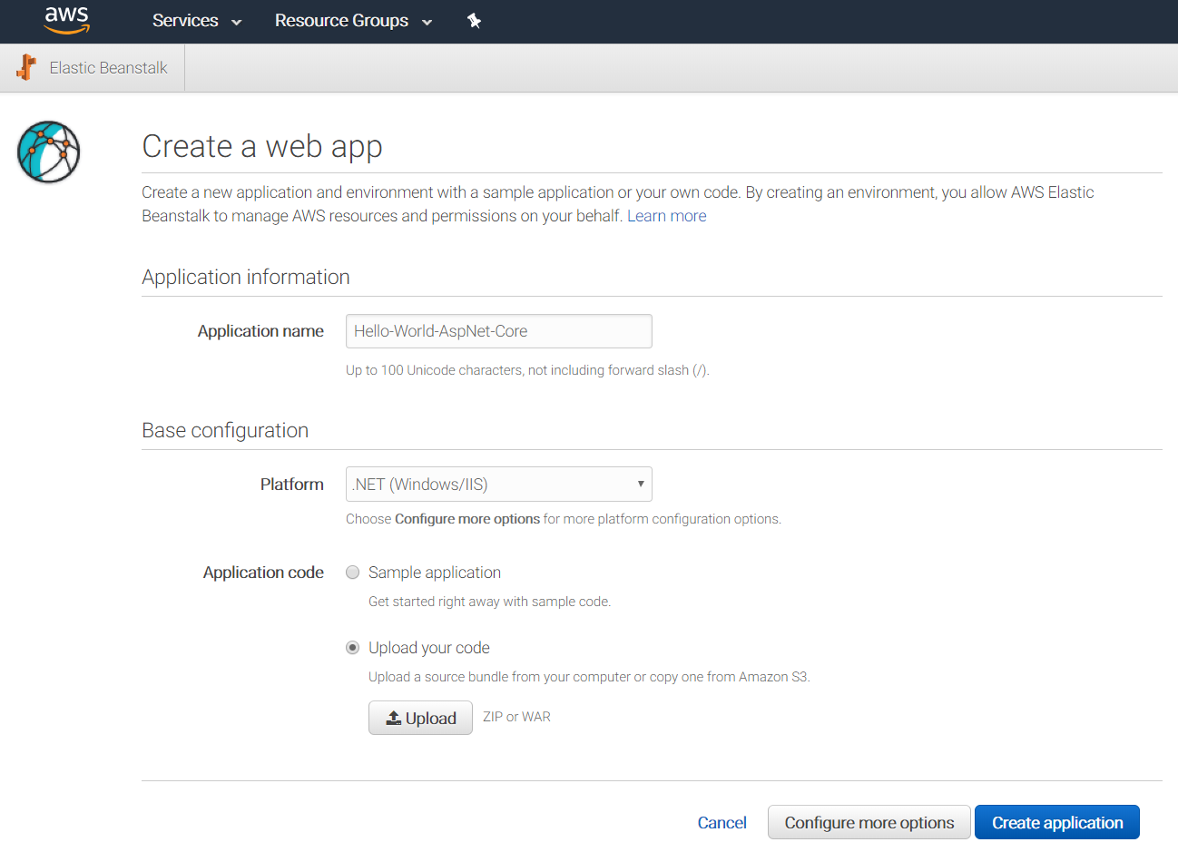 Creating a new AWS Elastic Beanstalk App