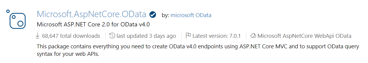 OData package in Nuget