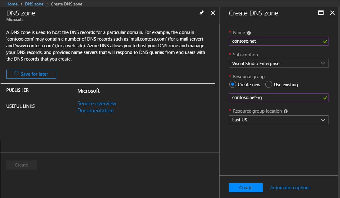 Create Azure DNS Zone