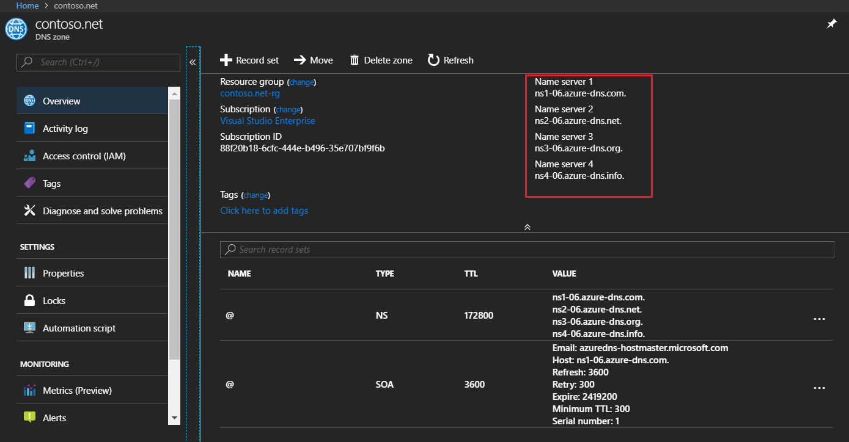 Azure DNS - Name Server Details