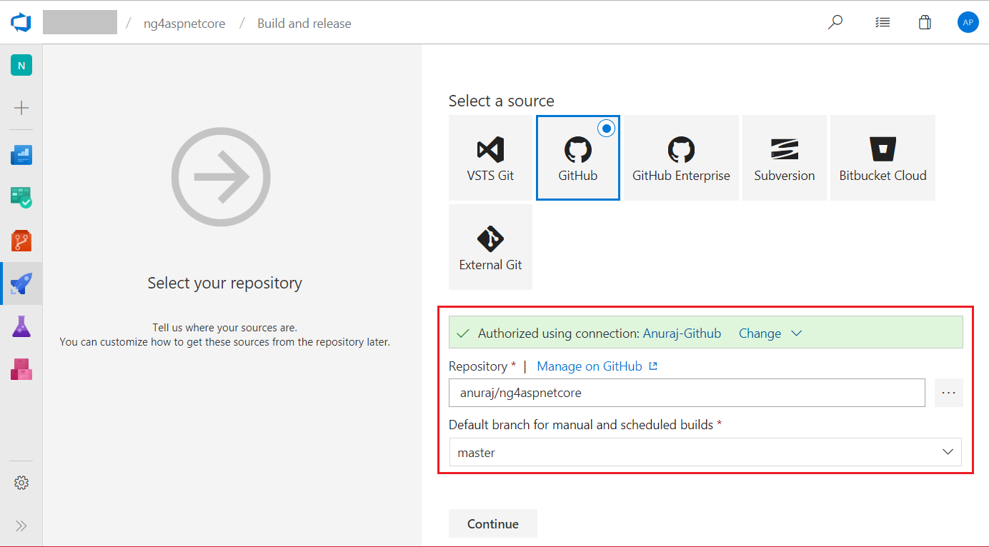 Select repository option in VSTS