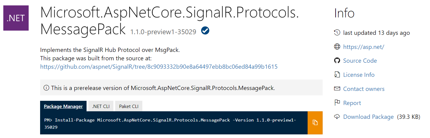 ASP.NET Core MessagePack NuGet package