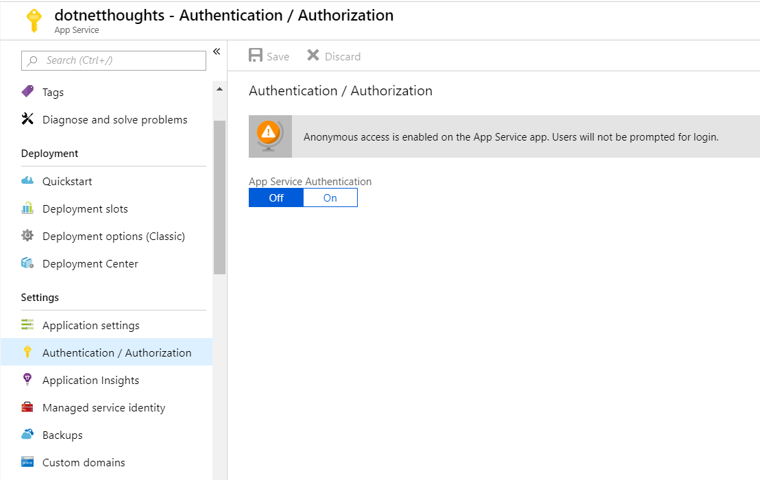 Authentication / Authorization screen