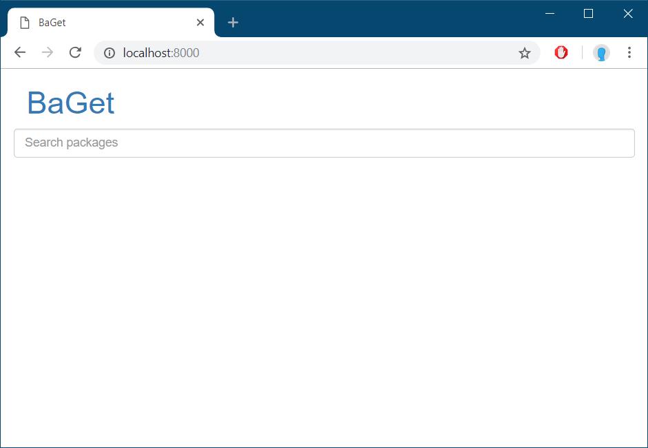 BaGet NuGet server running locally