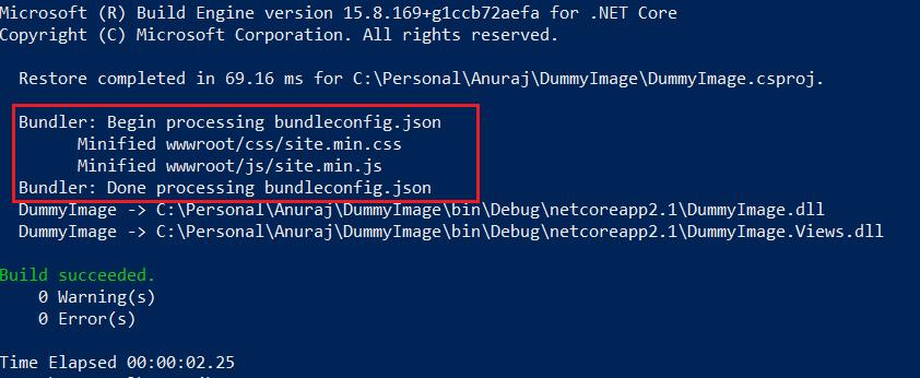 dotnet build command - Output