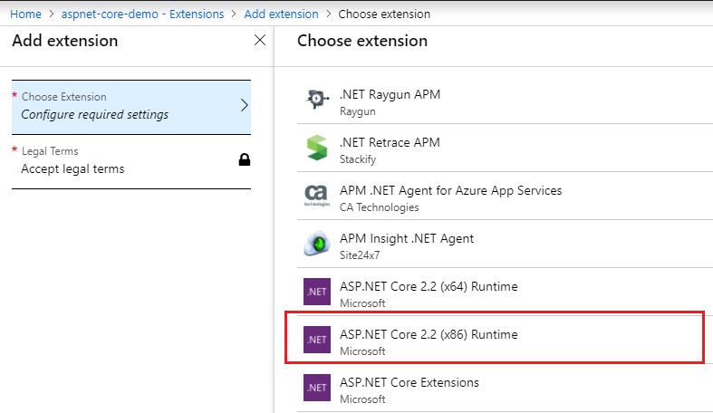 Azure Web App - Extensions