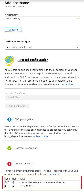Custom domain configuration in Azure Web app