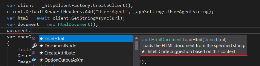 Visual Studio IntelliCode suggestions