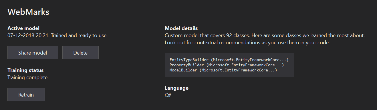 Visual Studio IntelliCode - Train model