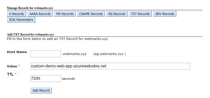 TXT NAME record
