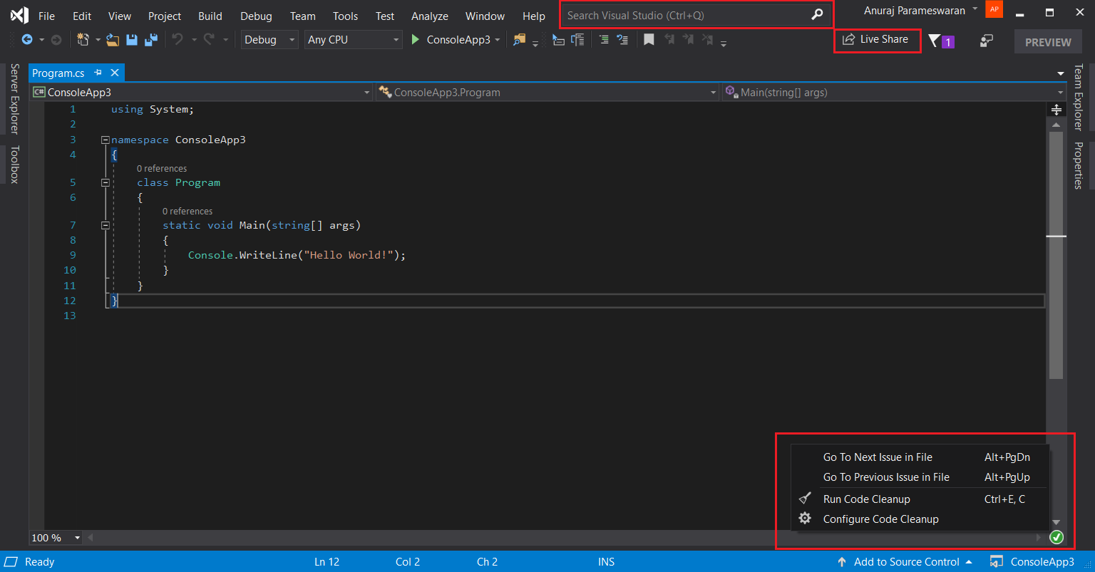 Visual Studio 2019 IDE