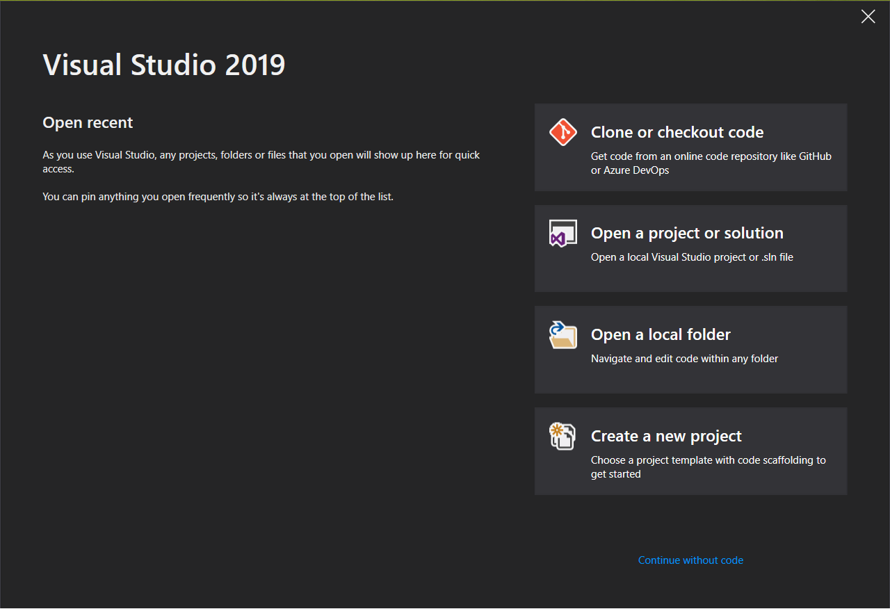 Visual Studio 2019 First Screen