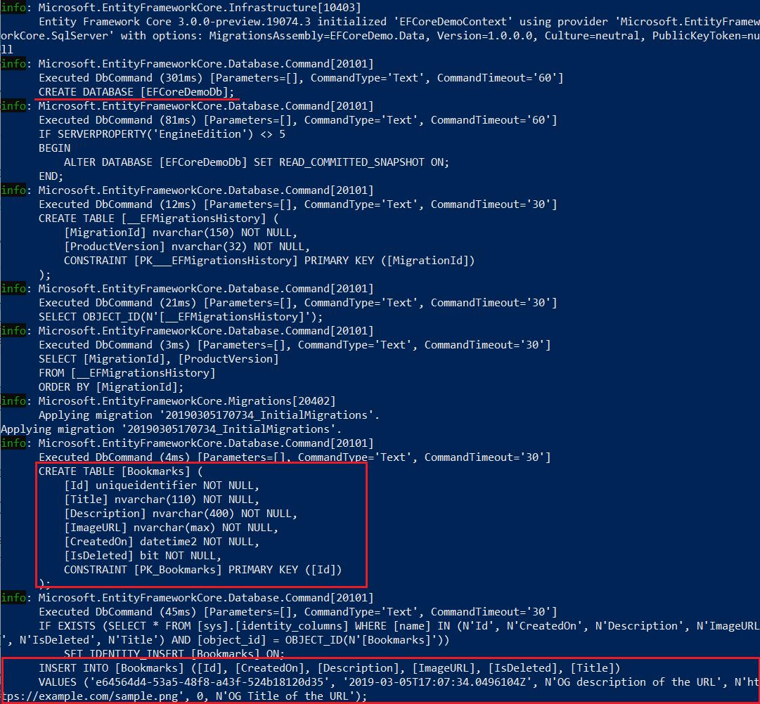 EF Core - Updating Database