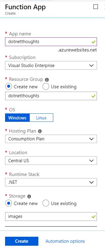 Creating Azure Function App