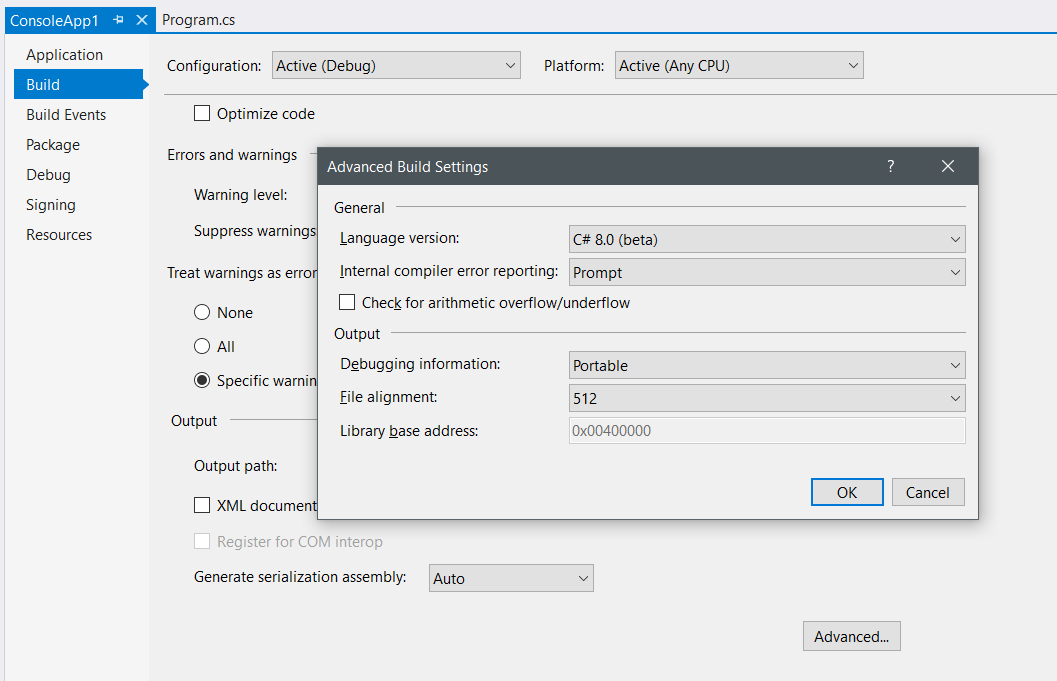 Enable C# 8.0 features