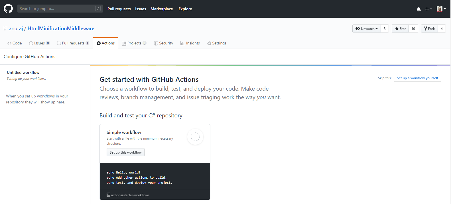 GitHub Actions - New Action