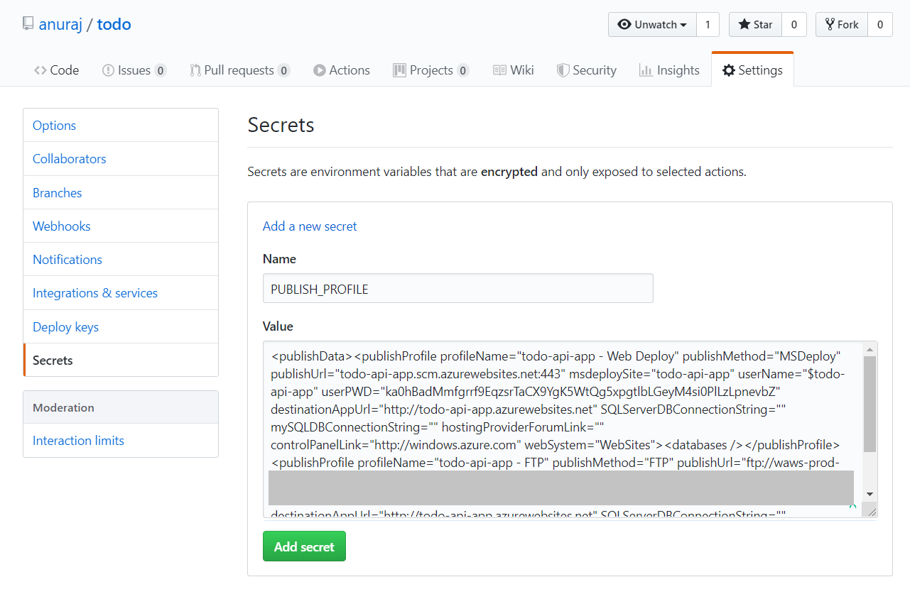 Publish Profile in GitHub Secrets